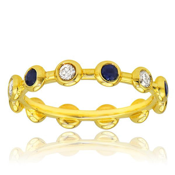 Diamond And Sapphire Stackable Band In 18k Yellow Gold - SEA Wave Diamonds