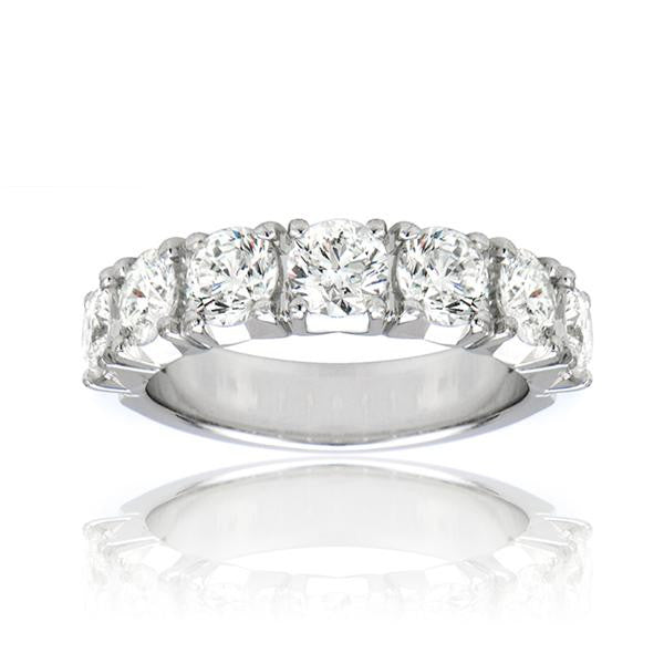 7 Stone Anniversary Band In 18k White Gold - SEA Wave Diamonds