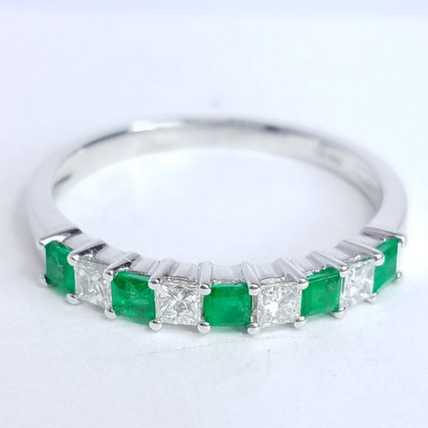 Diamond & Emerald Stack Ring - SEA Wave Diamonds