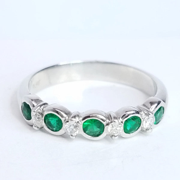 Green Emerald & Diamond Band Stackable Ring - SEA Wave Diamonds