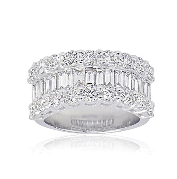 Round & Baguette diamond Statement Ring - SEA Wave Diamonds