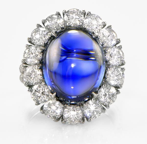 Cabochon Sapphire And Diamond Ring - SEA Wave Diamonds
