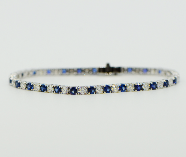 Sapphire and Diamond 18K White Gold Tennis Bracelet