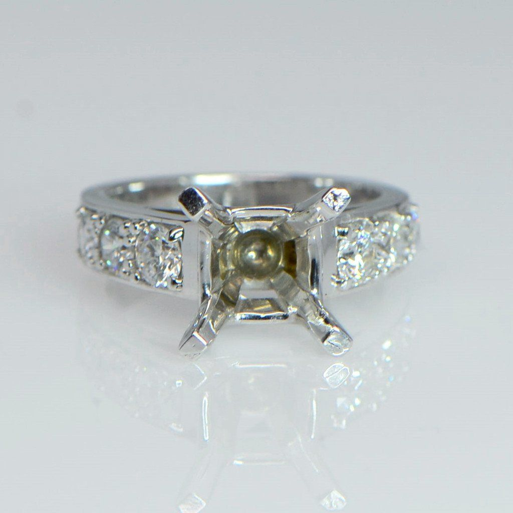 Bright Pave Cut Diamond Engagement Ring - SEA Wave Diamonds
