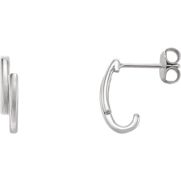 Double Bar J-Hoop Earrings