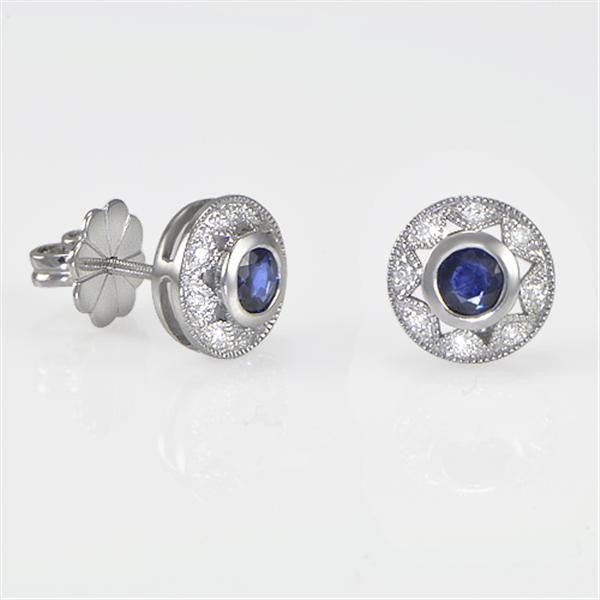 Antique Style Sapphire Earrings in 14K White Gold - SEA Wave Diamonds