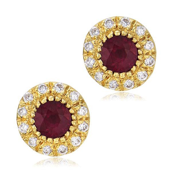 Vintage Inspired Diamond Ruby Earrings in Yellow Gold - SEA Wave Diamonds
