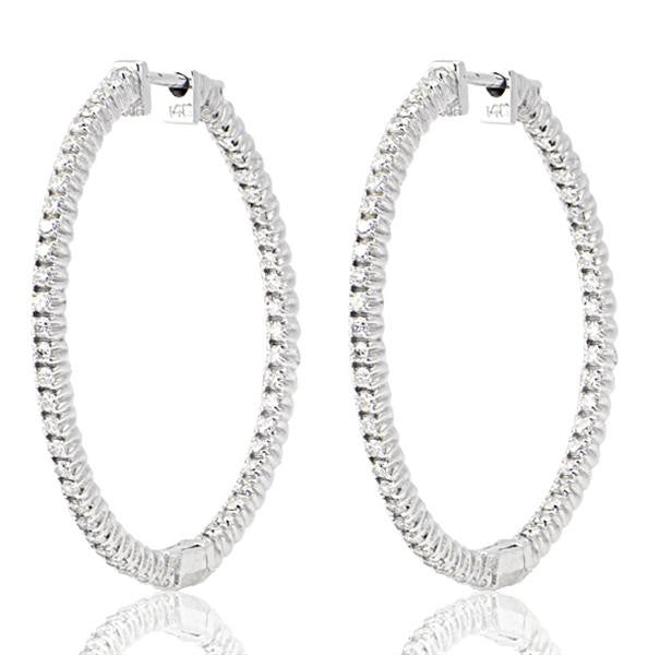 18K White Gold Diamond Hoop Earrings - SEA Wave Diamonds