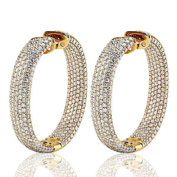 18K Rose Gold Oval Shape Diamond Hoop Earrings - SEA Wave Diamonds