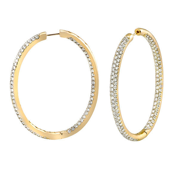 Oval Pave Diamond Hoops - SEA Wave Diamonds