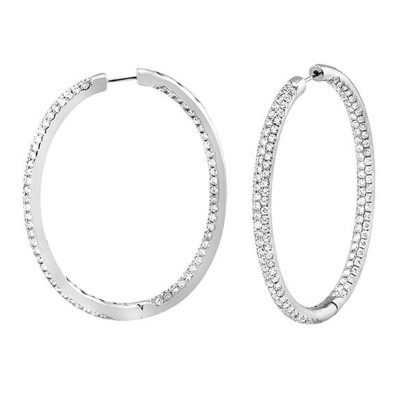 Oval Pave Diamond Hoops in 18K White Gold (9.16 ct. tw.) - SEA Wave Diamonds