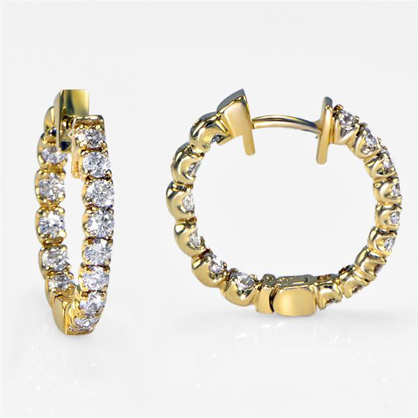 Diamond Hoop Earrings in Yellow Gold 1.30cts - SEA Wave Diamonds