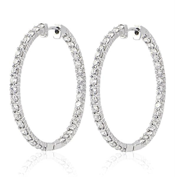 18K White Gold Hoop Diamond Earrings - SEA Wave Diamonds