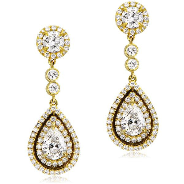 Pear Shape Chandelier Earrings in Yellow Gold