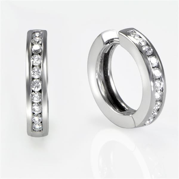 0.40 Carat Diamond Hoop Earrings in 18K White Gold - SEA Wave Diamonds