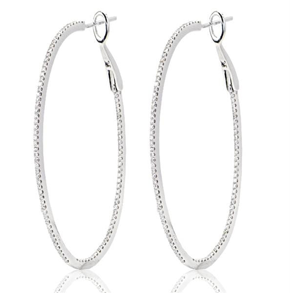 Oval Shape 18K White Gold Diamond Hoop Earrings - SEA Wave Diamonds