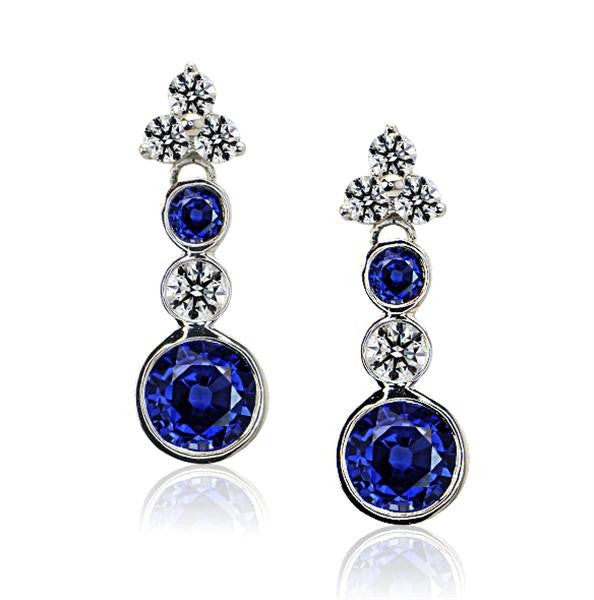 Sapphire And Diamond Earrings In 14k White Gold - SEA Wave Diamonds