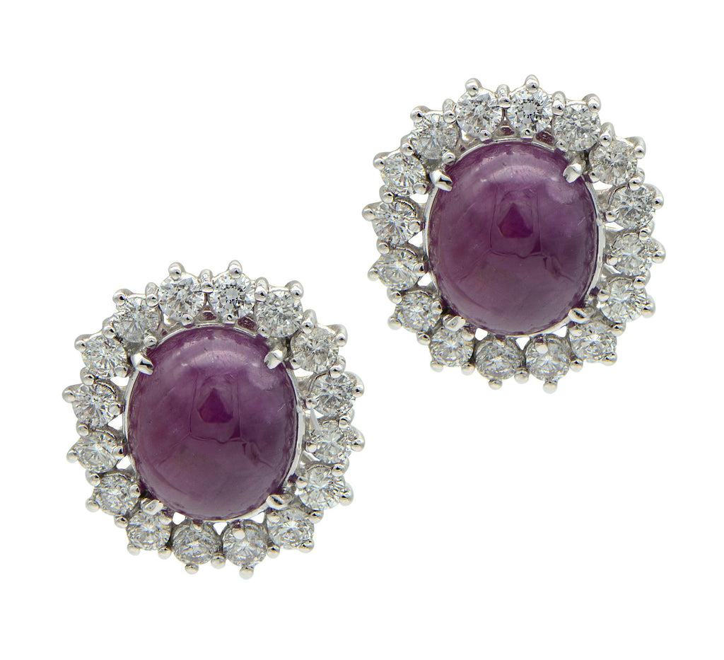Cabochon Ruby Earrings with Diamond Halo