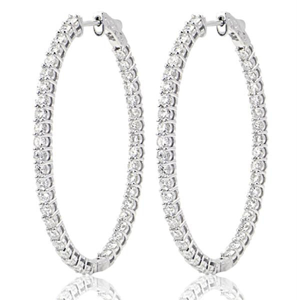 Oval Shape Diamond Hoop Earrings - SEA Wave Diamonds