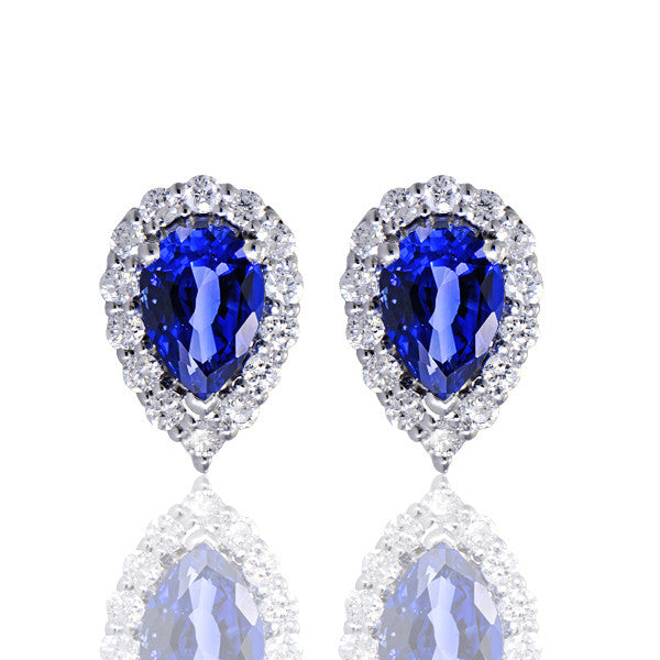 Pear Cut Sapphire Diamond Earrings - SEA Wave Diamonds