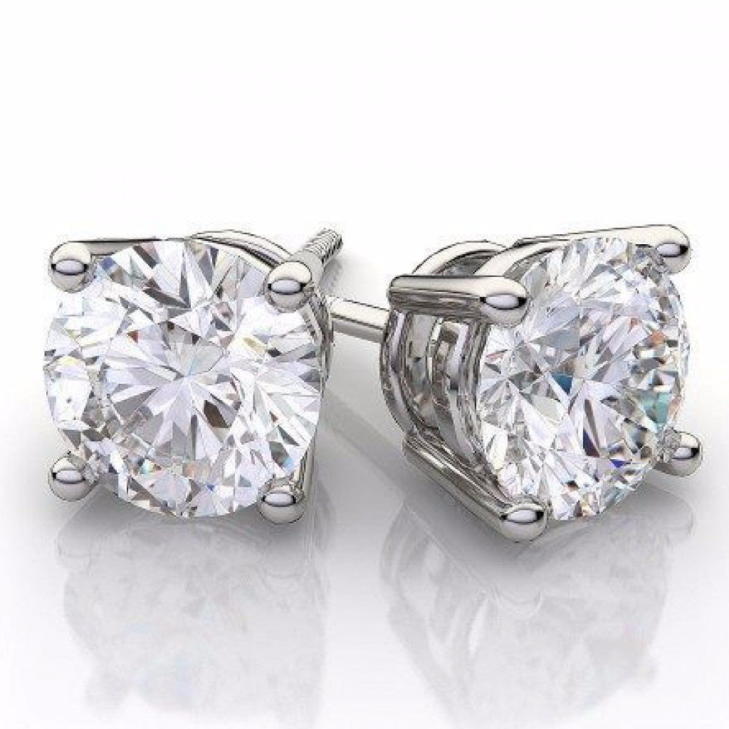Round Diamond Stud Earrings With Push Backings