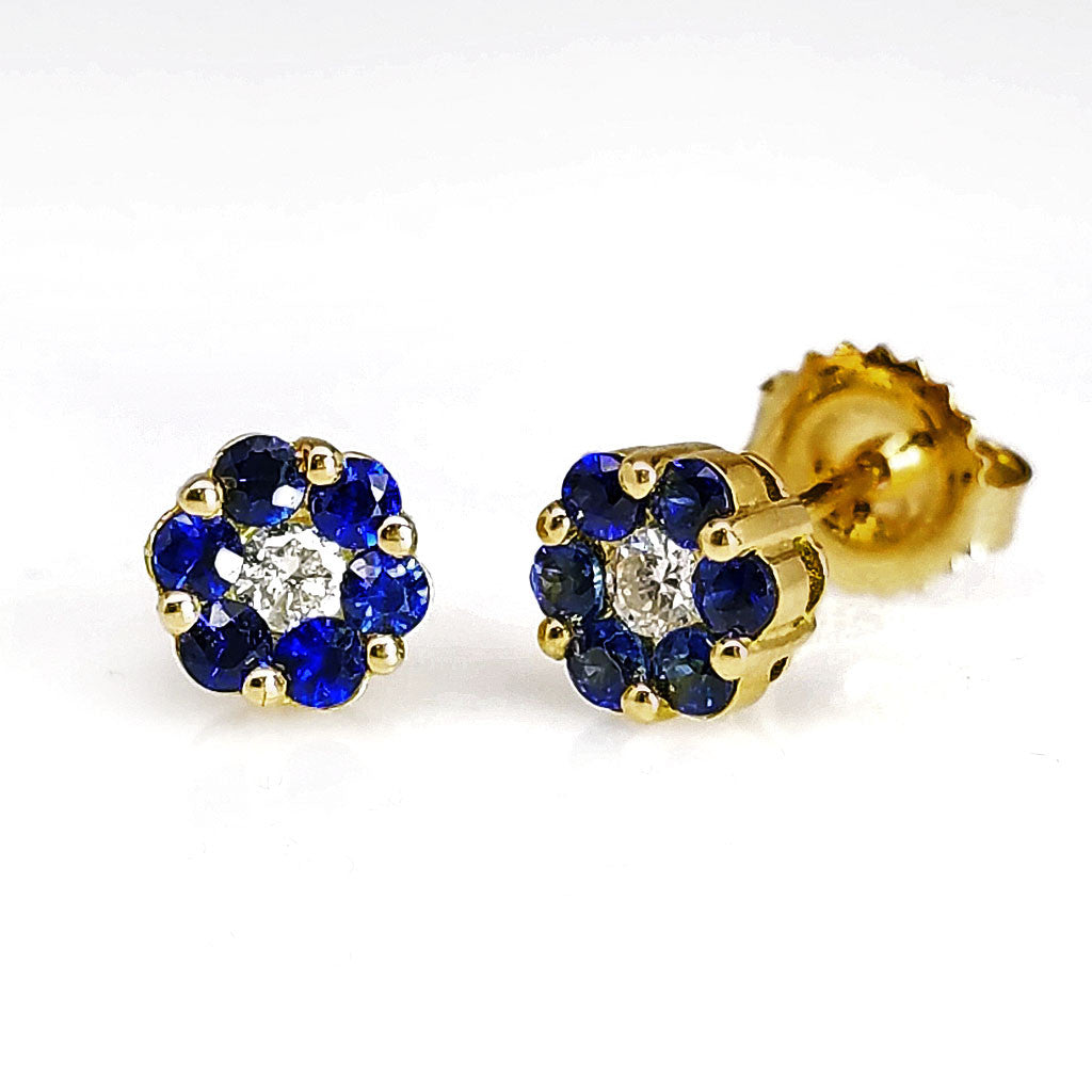 Sapphire And Diamond Stud Earrings - SEA Wave Diamonds