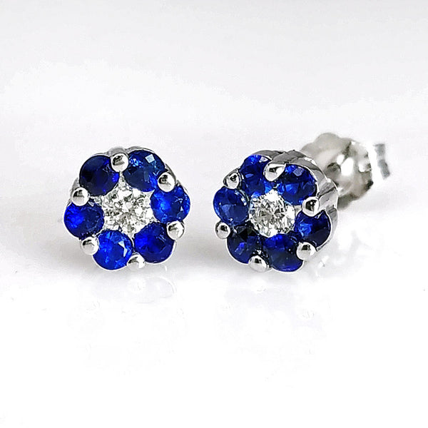Sapphire Diamond Floral Motif Post Studs Earrings - SEA Wave Diamonds