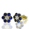 Yellow Gold Sapphire & Diamond Earrings - SEA Wave Diamonds