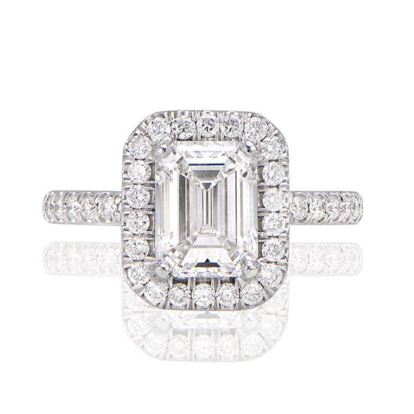 Emerald Cut Pave Halo Handmade Engagement Ring