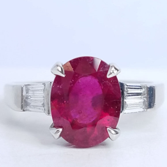 Three Stone Oval Ruby Diamond Ring - SEA Wave Diamonds