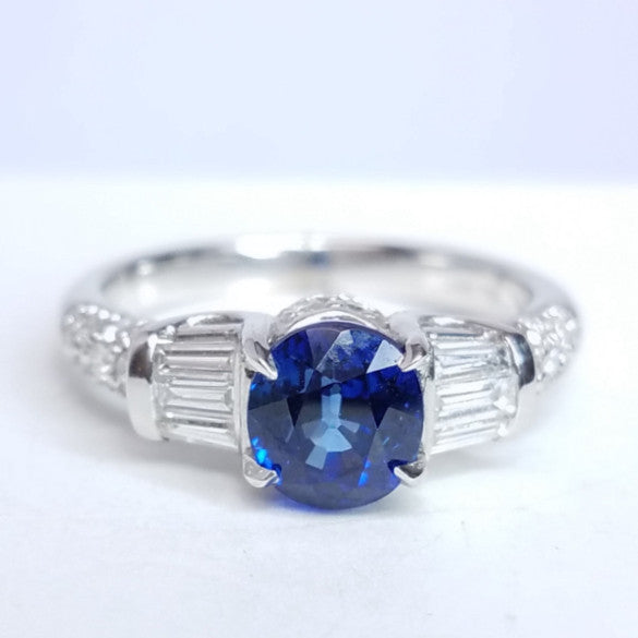 Vintage Inspired Sapphire & Diamond Ring - SEA Wave Diamonds