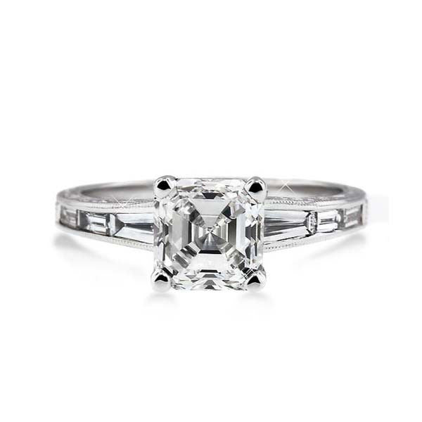 Asscher Cut Solitaire Engagement Ring - SEA Wave Diamonds