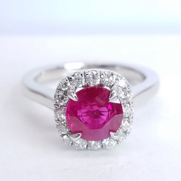 Ruby Diamond Halo Ring - SEA Wave Diamonds