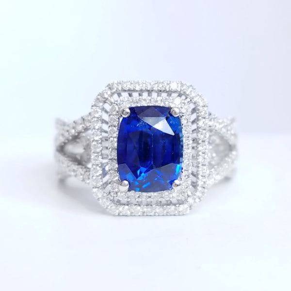 Blue Sapphire Gemstone and Diamond Engagement Ring - SEA Wave Diamonds