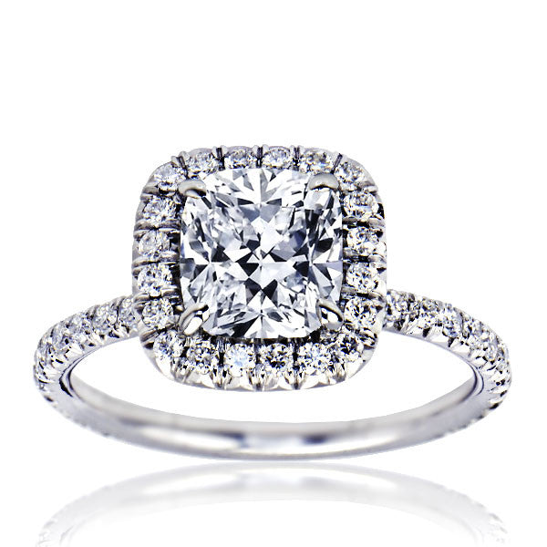 Cushion Cut Halo Set Diamond Engagement Ring - SEA Wave Diamonds