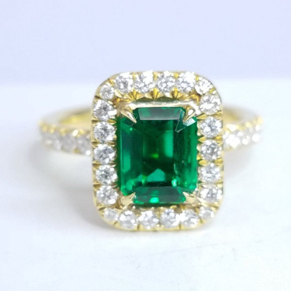 Emerald Yellow Gold Halo Engagement Ring - SEA Wave Diamonds