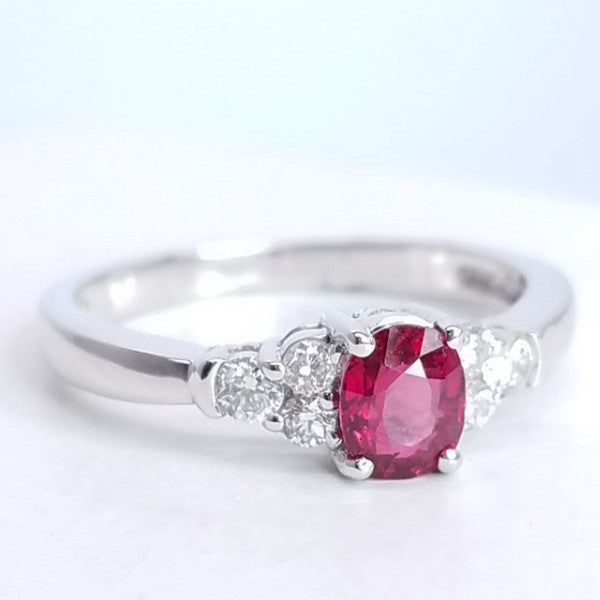 Oval Shape Ruby Engagement Ring - SEA Wave Diamonds