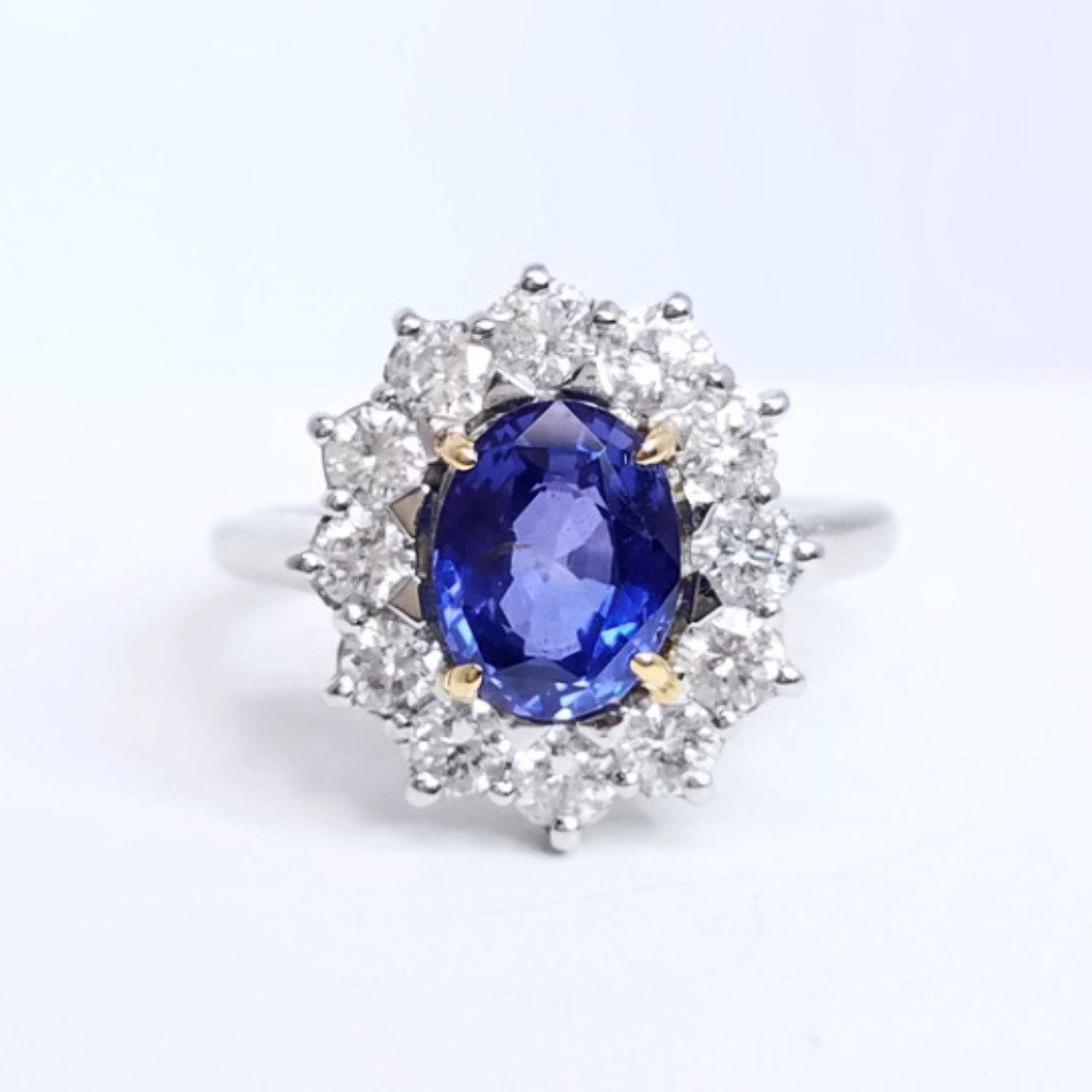 rings gold diamond sapphire gem ring blue flashopal violet