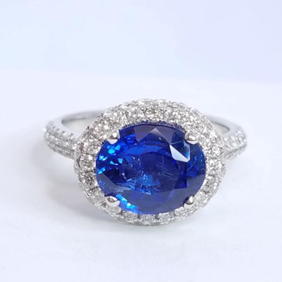 Diamond Donut Sapphire Ring - SEA Wave Diamonds