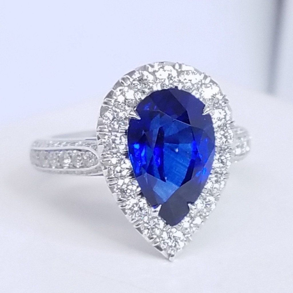 Sapphire Tear Drop Diamond Halo Ring - SEA Wave Diamonds
