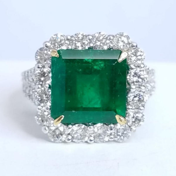 Green Emerald Diamond Ring - SEA Wave Diamonds