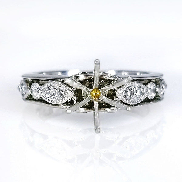 Vintage Inspired Diamond Ring Setting - SEA Wave Diamonds