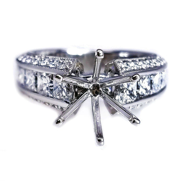 18K White Gold Diamond Engagement Ring Setting - SEA Wave Diamonds
