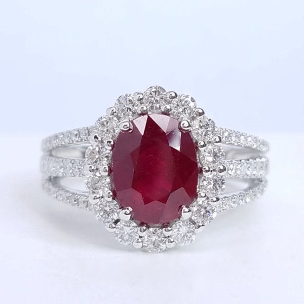 Oval Ruby Diamond Halo Ring - SEA Wave Diamonds