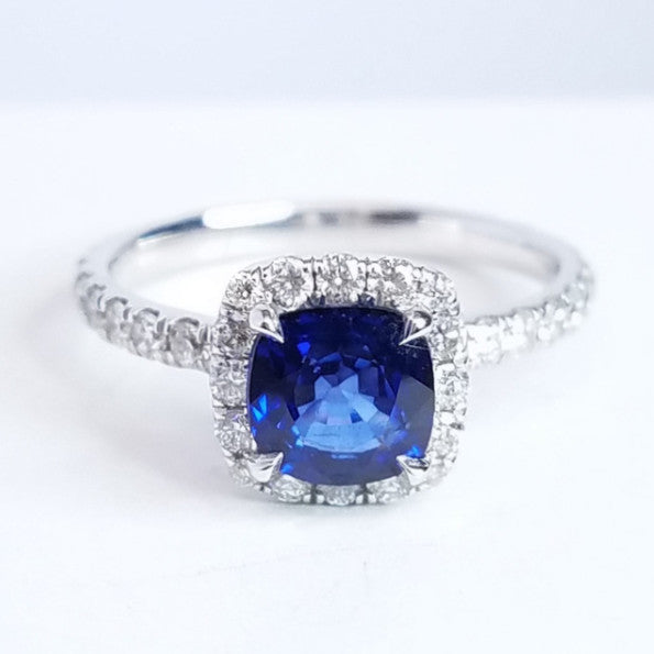 Sapphire Halo Set Diamond Engagement Ring - SEA Wave Diamonds