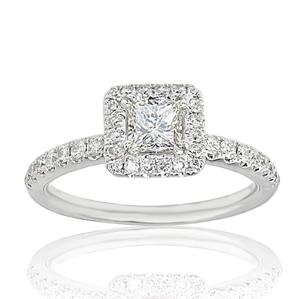 Halo Set Princess Cut Diamond Engagement Ring