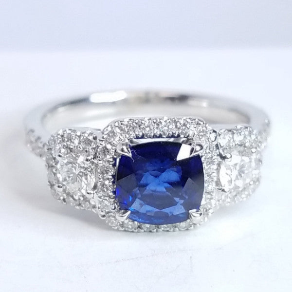 Sapphire And Diamond Engagement Ring - SEA Wave Diamonds