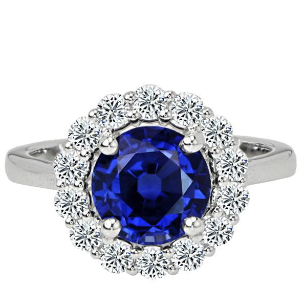 2.38CT Blue Sapphire Engagement Ring - SEA Wave Diamonds