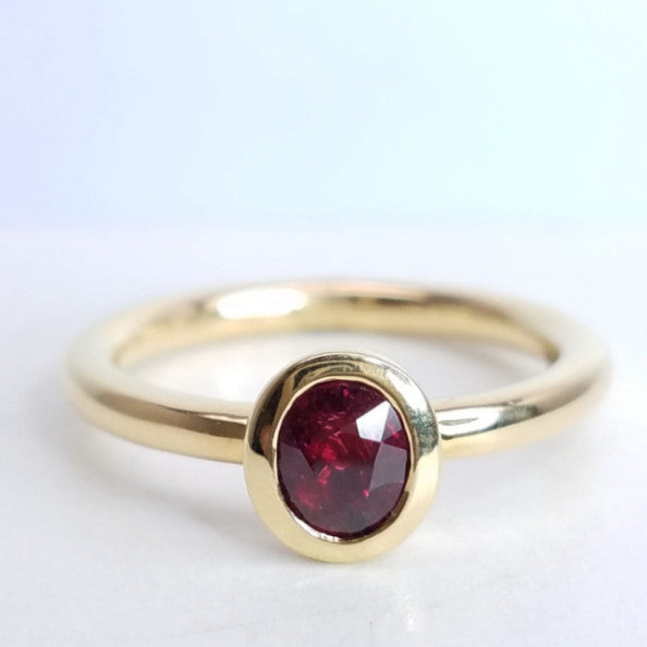 Red Hot Ruby Yellow Gold Ring - SEA Wave Diamonds