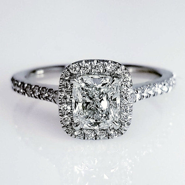 New Cushion Cut Delicate Halo Set Diamond Engagement Ring ENGR03065
